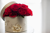 Red rose bouquet in gift box