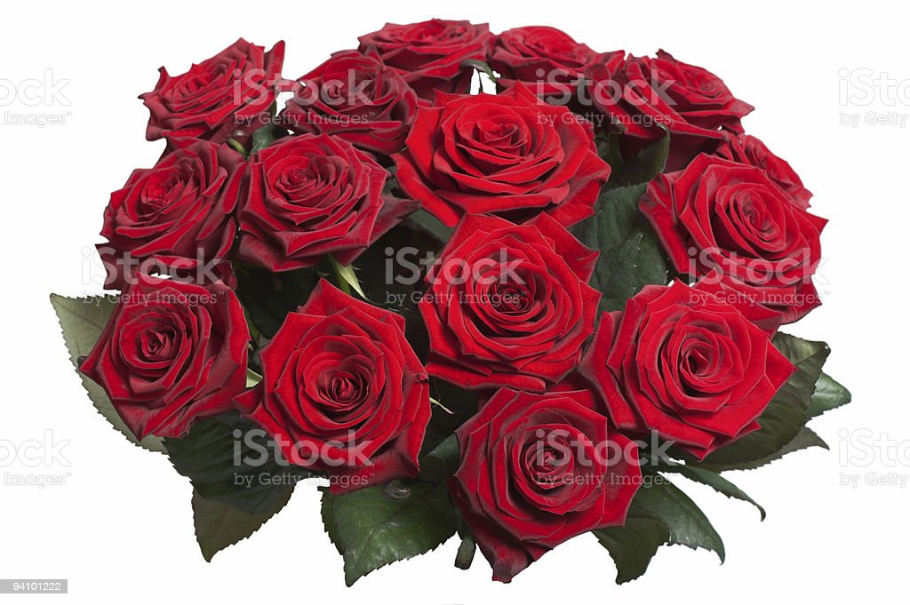 Red Rose Bouquet on white royalty-free stock photo
