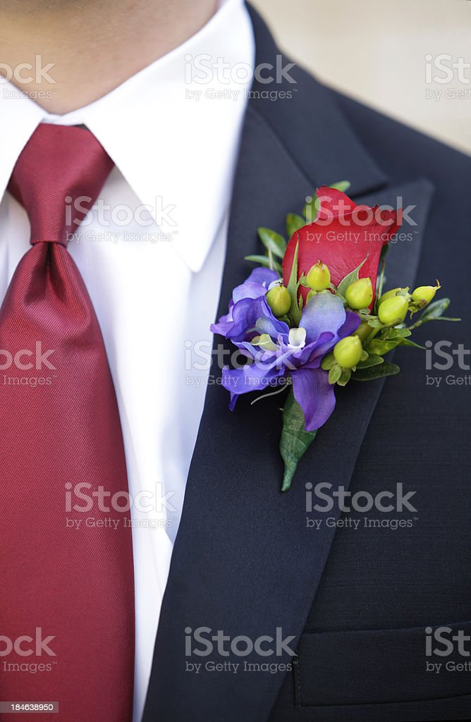Red Rose Boutonniere stock photo