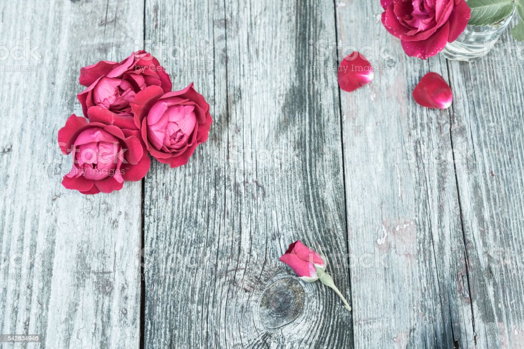 Red rose Flowers on wooden table. Vintage Floral background. stock photo