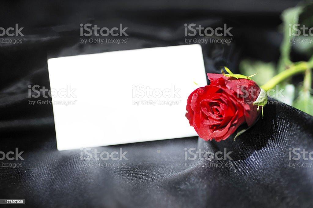 Red rose on black satin stock photo