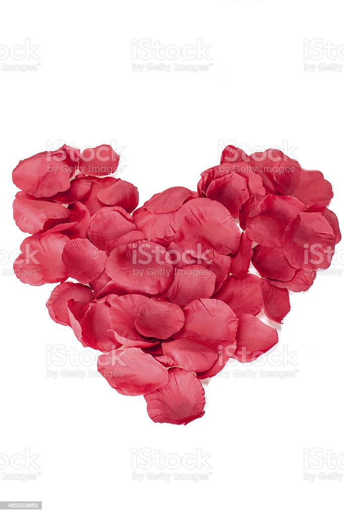 Red Rose Petals Heart On White stock photo