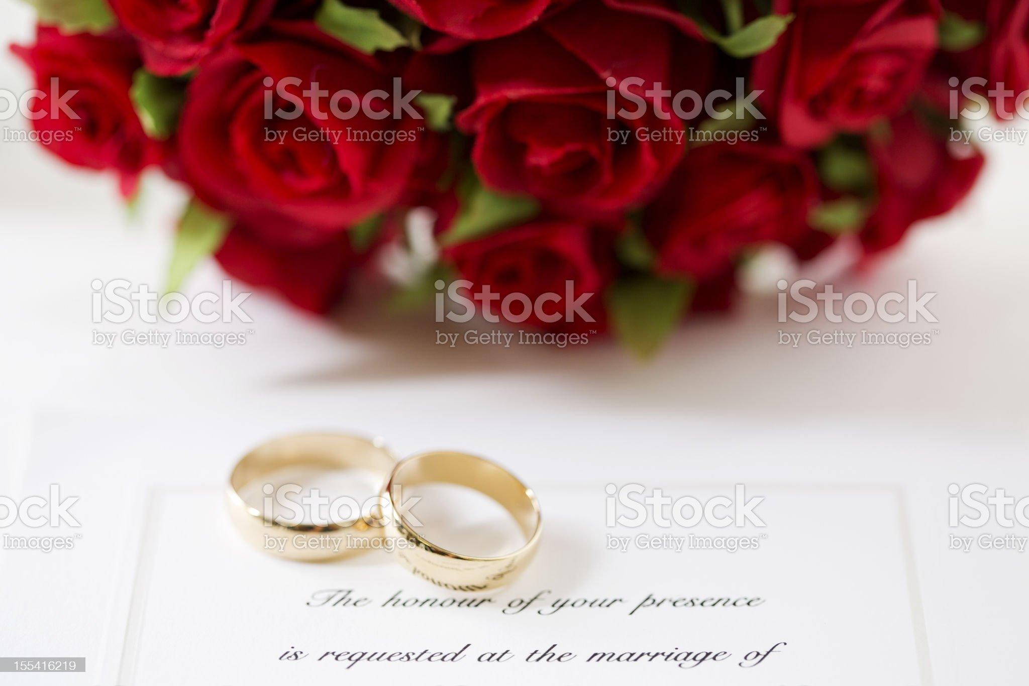 Red Rose Wedding Invitation royalty-free stock photo