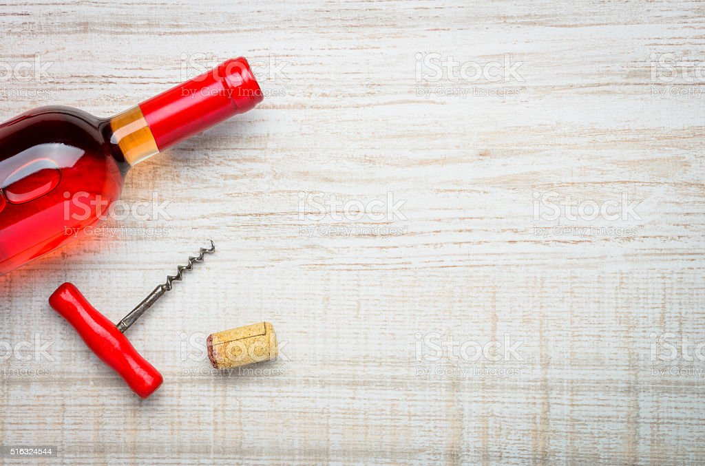 Red Rose Wine Bottle and Copy Space stock photo