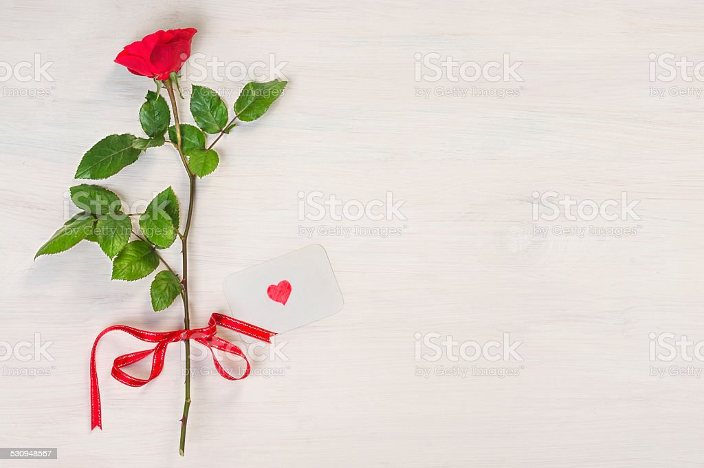 Red rose with heart shape on greeting card stock photo