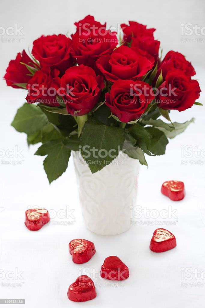 red roses and chocolate stock photo