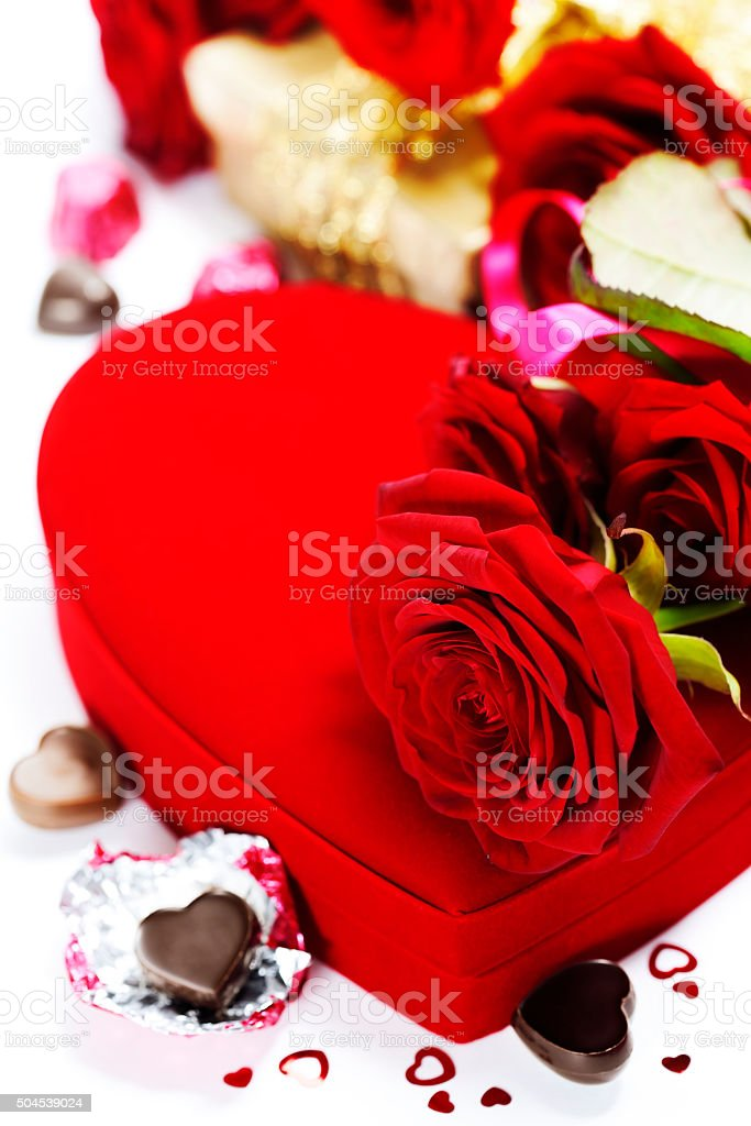 red roses and hearts for Valentine's Day stock photo
