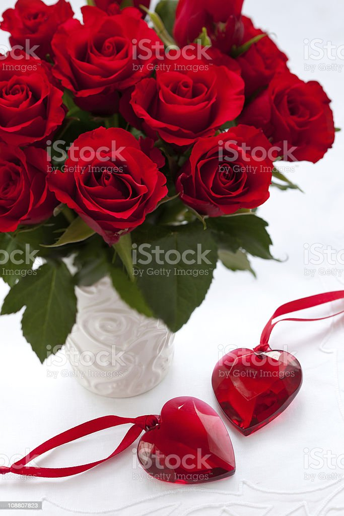 red roses and hearts royalty-free stock photo