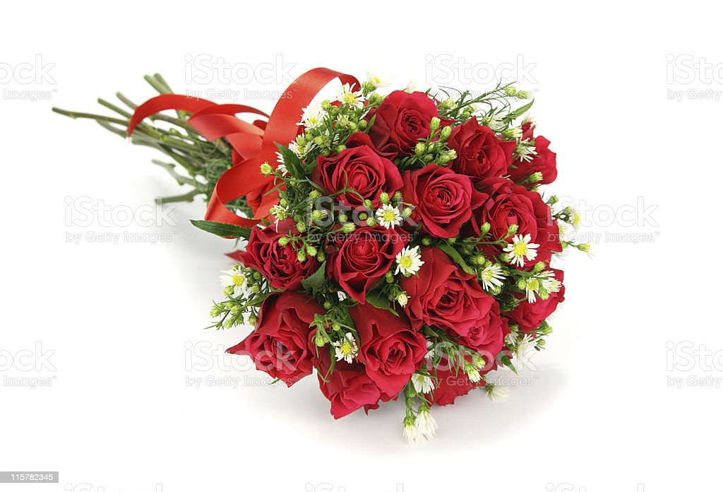 Red roses and white flower wedding bouquet isolated royalty-free stock photo