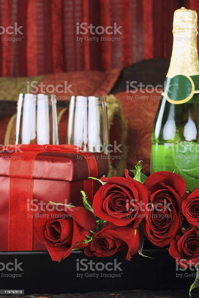 Red roses and Wine royalty-free stock photo