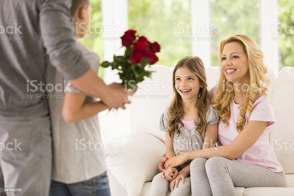 Red roses for mother and daughter royalty-free stock photo