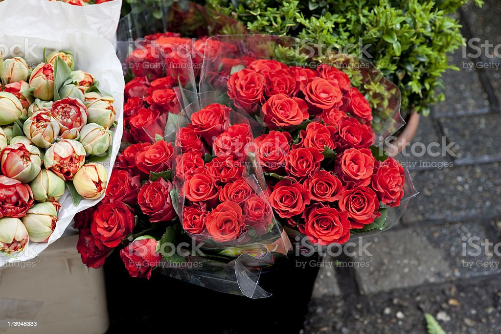 Red Roses for Sale at Flower Market royalty-free stock photo