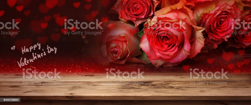 Red roses for Valentines Day stock photo