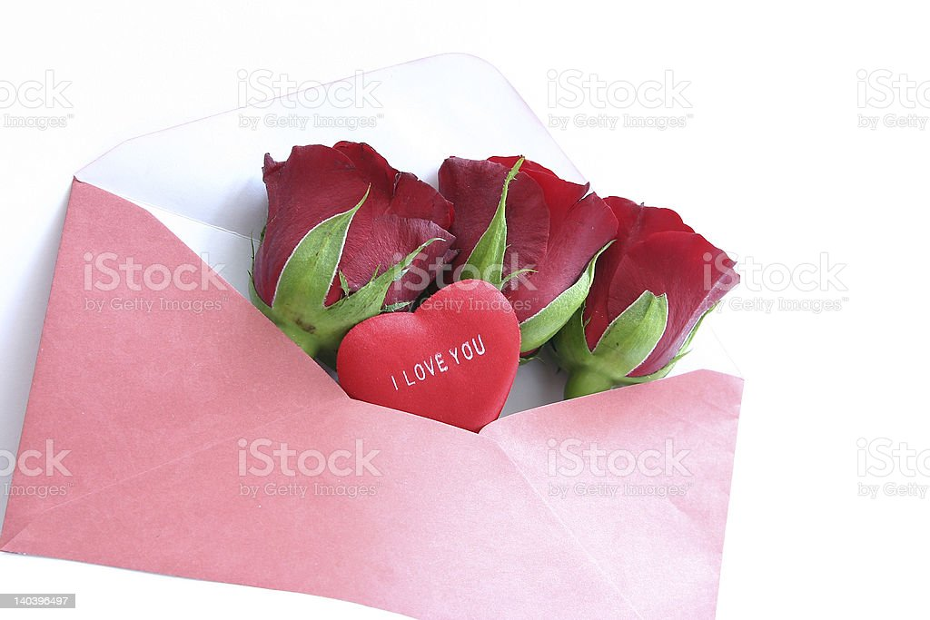 red roses in envelope on white royalty-free stock photo