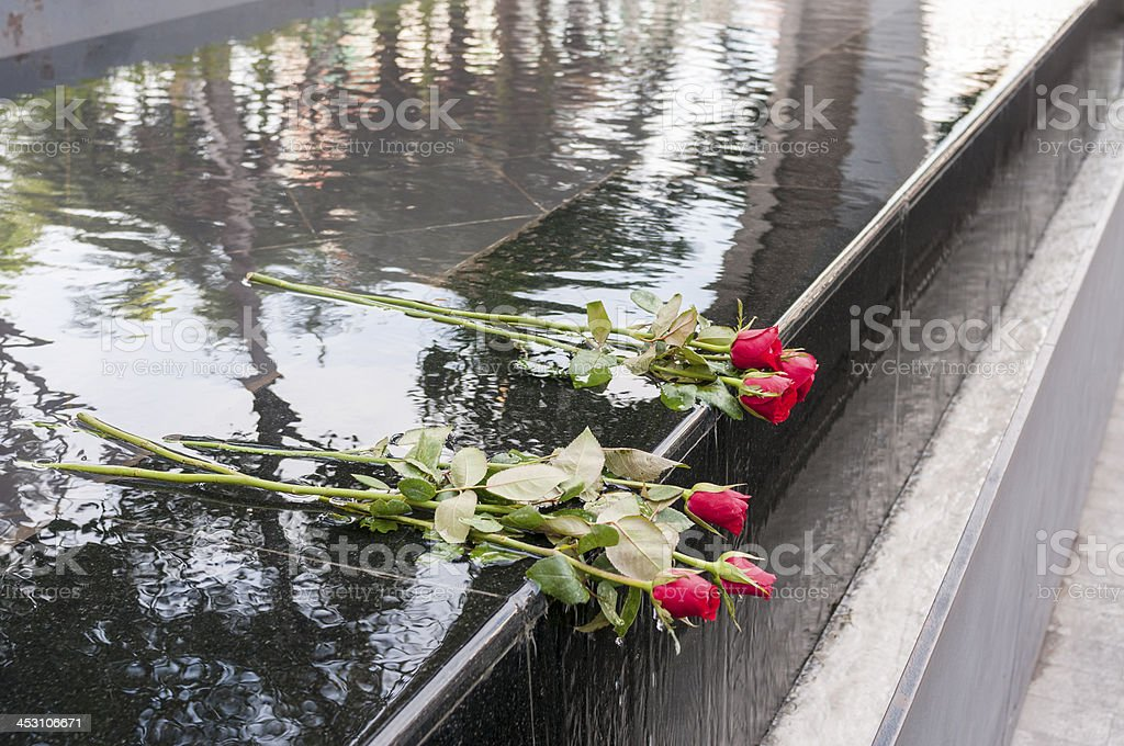 Red Roses Placed On A Memorial royalty-free stock photo
