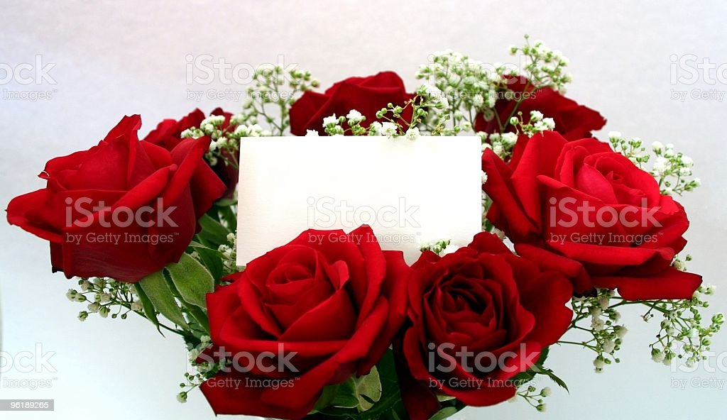 Red roses with a blank message tag stock photo
