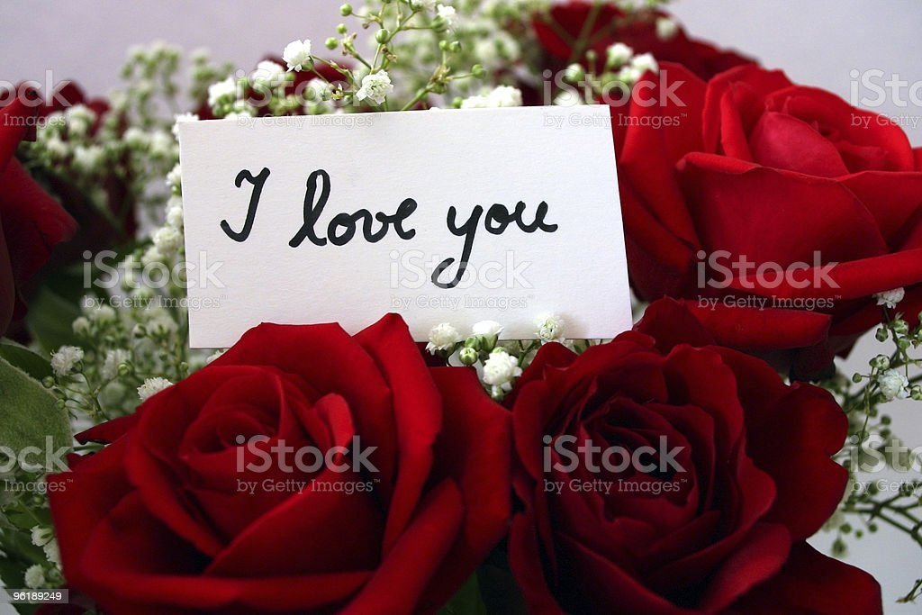 Red roses with a message tag stock photo