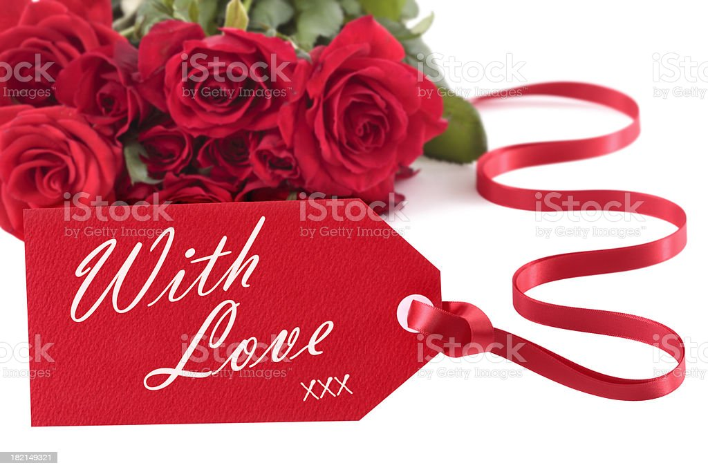 Red roses with love message royalty-free stock photo