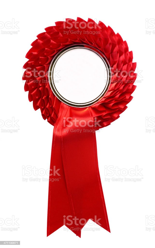 Red Rosette for Winning royalty-free stock photo
