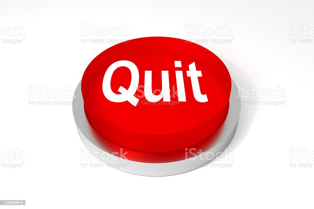 red round button quit stock photo