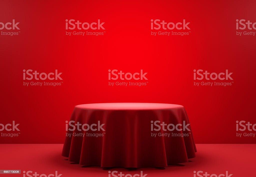 Red round podium in the scene. 3d render stock photo