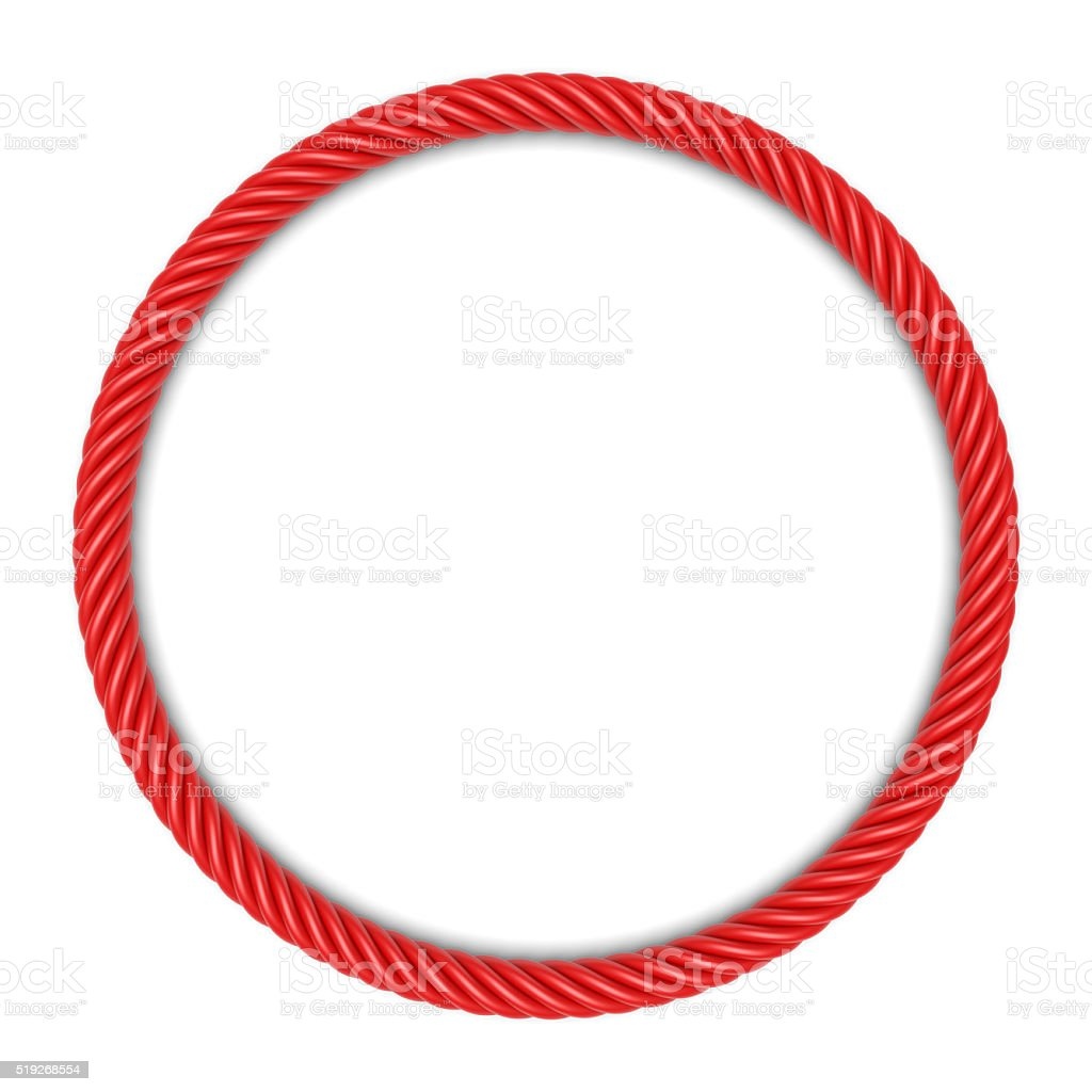 Red round rope frame stock photo