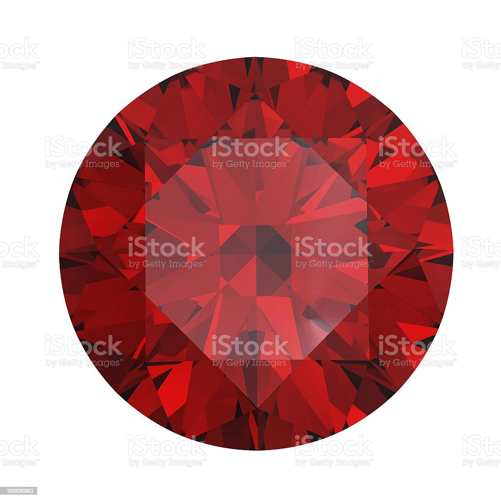 Red round shaped garnet on a white background stock photo
