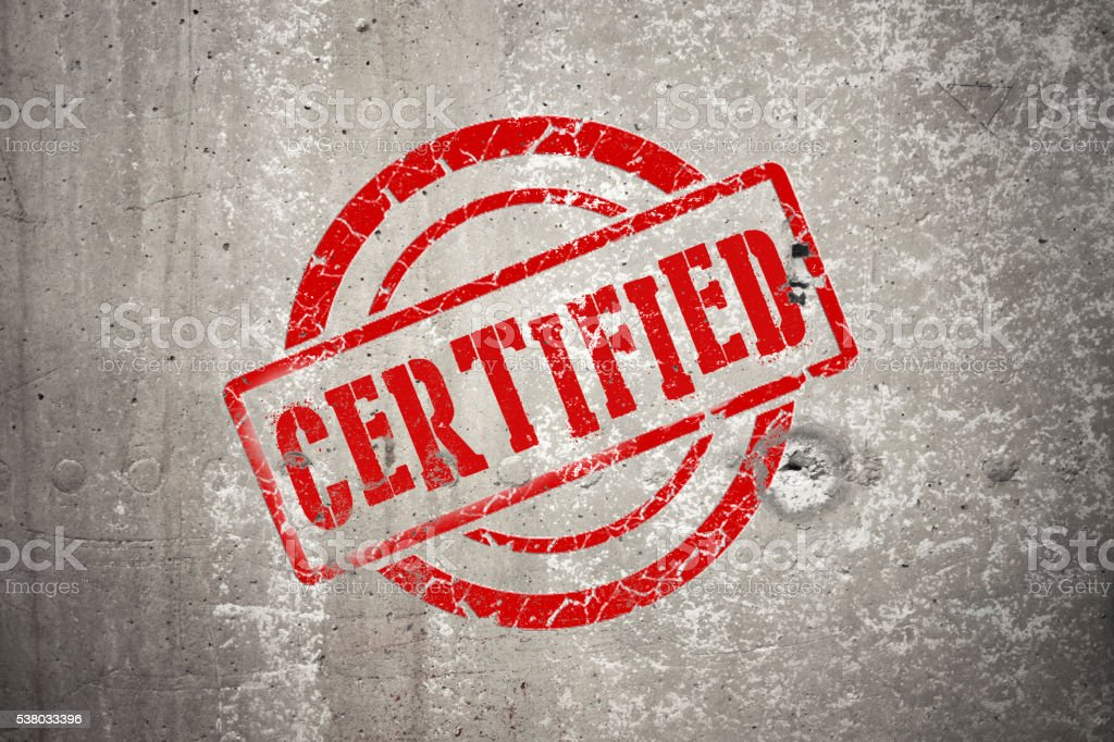 CERTIFIED red round stamp stock photo