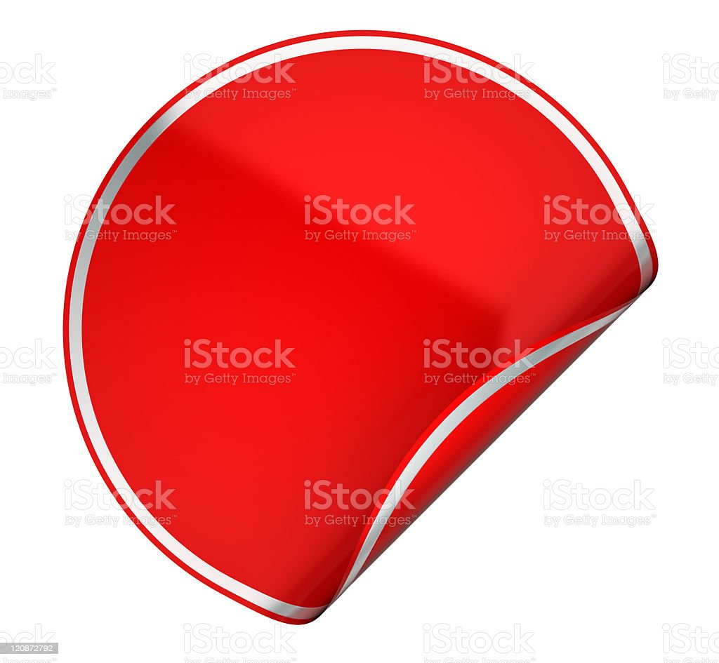 Red round sticker or label on white royalty-free stock photo