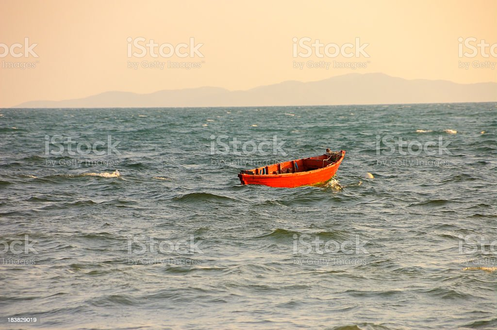 Red Rowboat In Gulf Of Thailand royalty-free stock photo