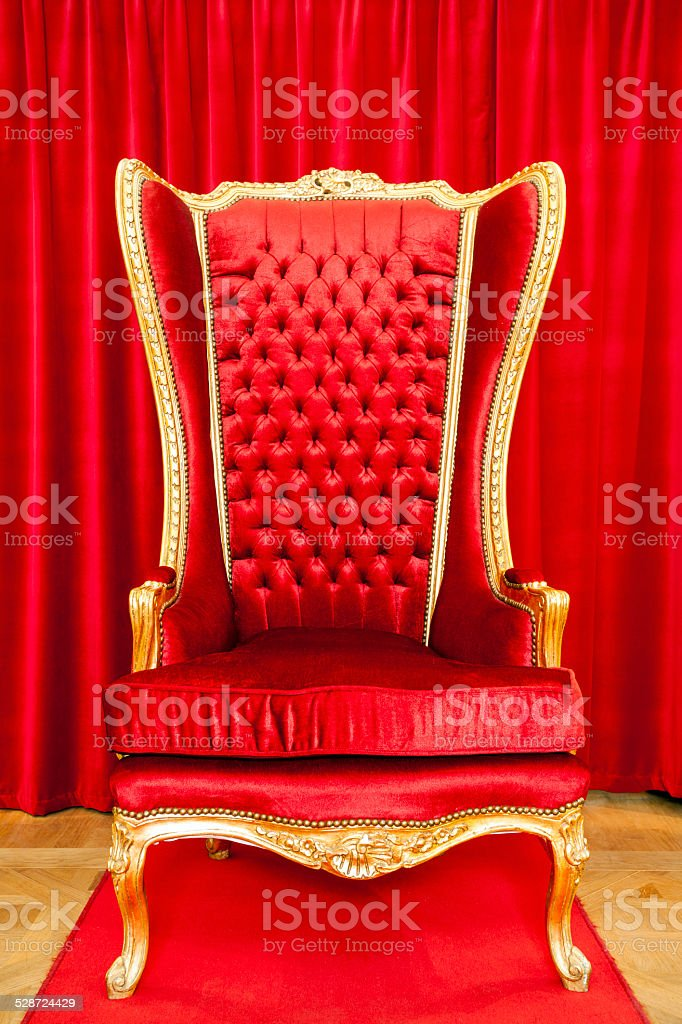 Red royal throne stock photo