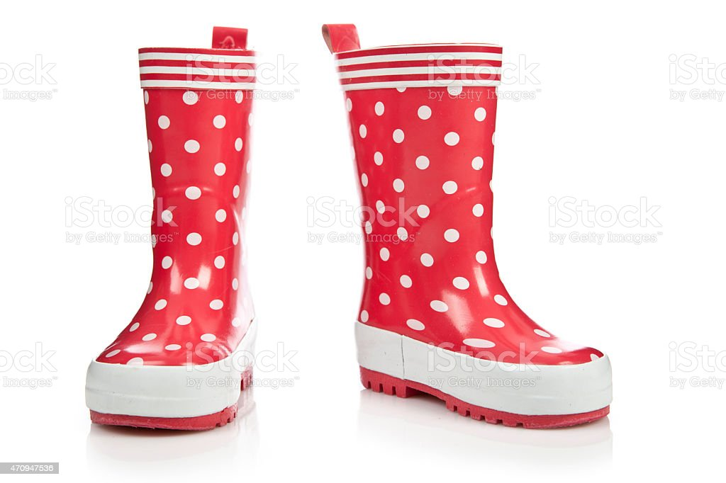 Red rubber boots for kids stock photo