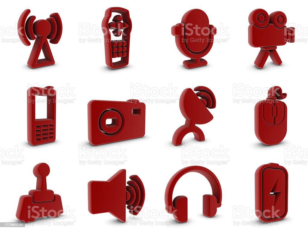 red rubber equipment icons royalty-free stock photo