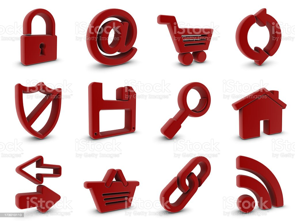 red rubber internet icons royalty-free stock photo