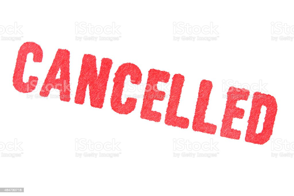 CANCELLED - red Rubber Stamp isolated on white background. stock photo