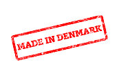 MADE IN DENMARK, red rubber stamp with grunge edges.