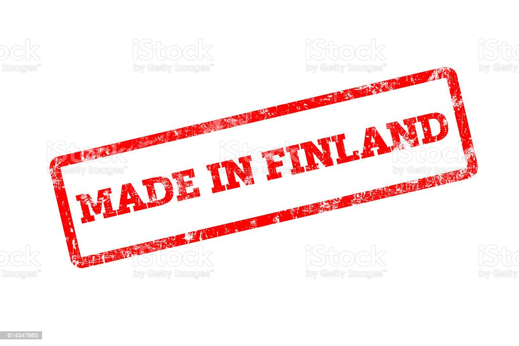 MADE IN FINLAND, red rubber stamp with grunge edges. stock photo