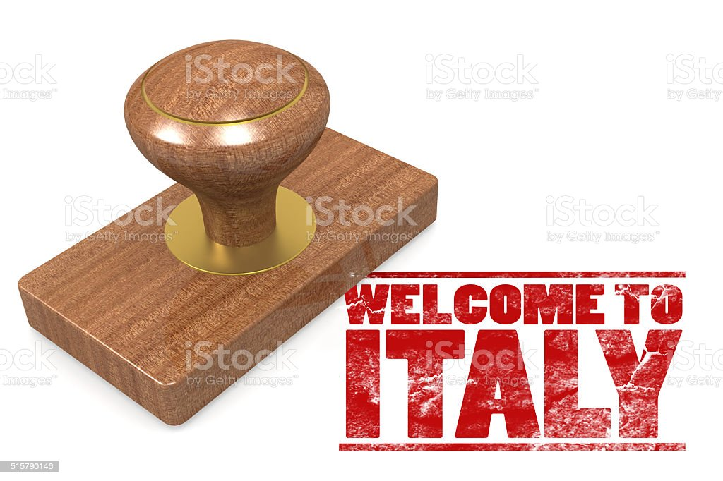 Red rubber stamp with welcome to Italy stock photo