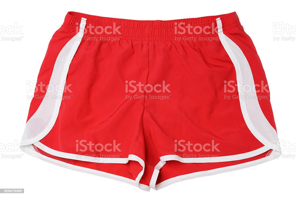 Red Running Fitness Athletic Wear Shorts on White stock photo