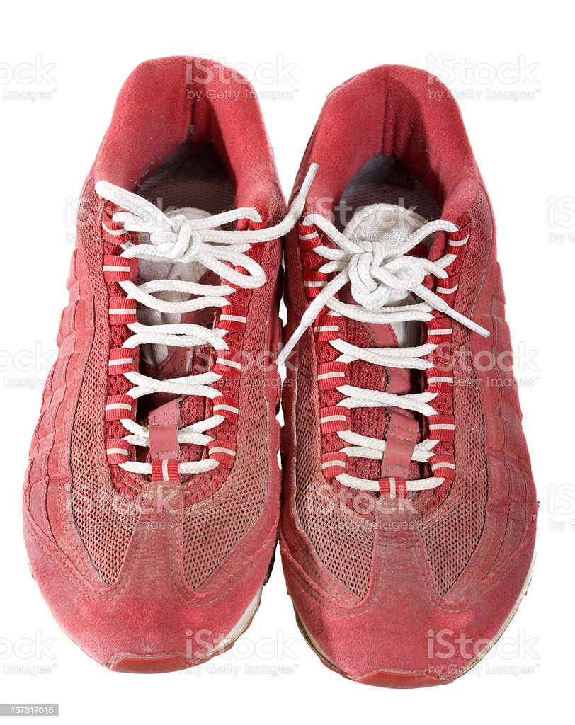 Red running shoes stock photo