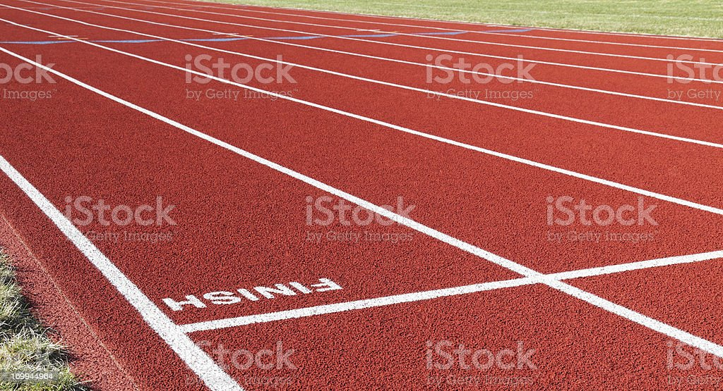 Red Running Track Inverted Finish Line royalty-free stock photo