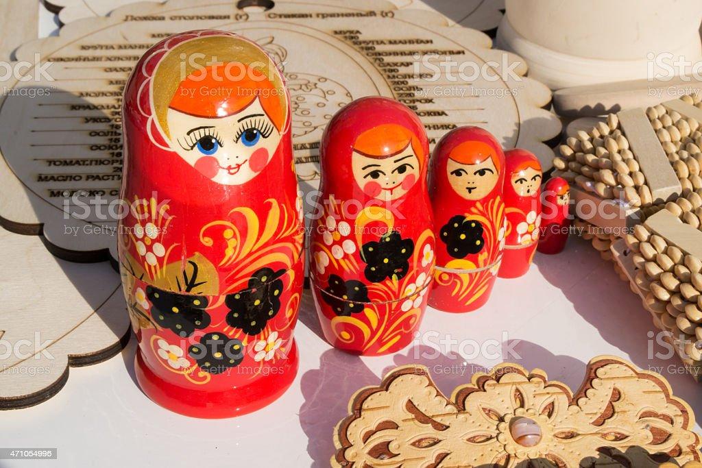 Red Russian Nesting Dolls stock photo