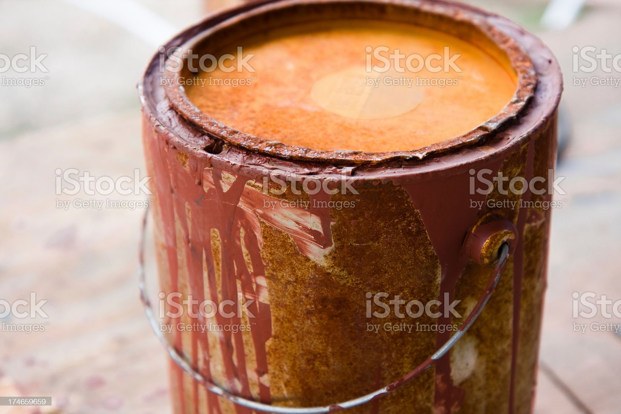 Red rusty old paint bucket royalty-free stock photo
