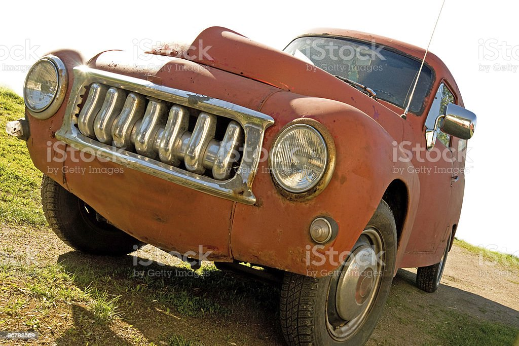 Red rusty vintage car stock photo