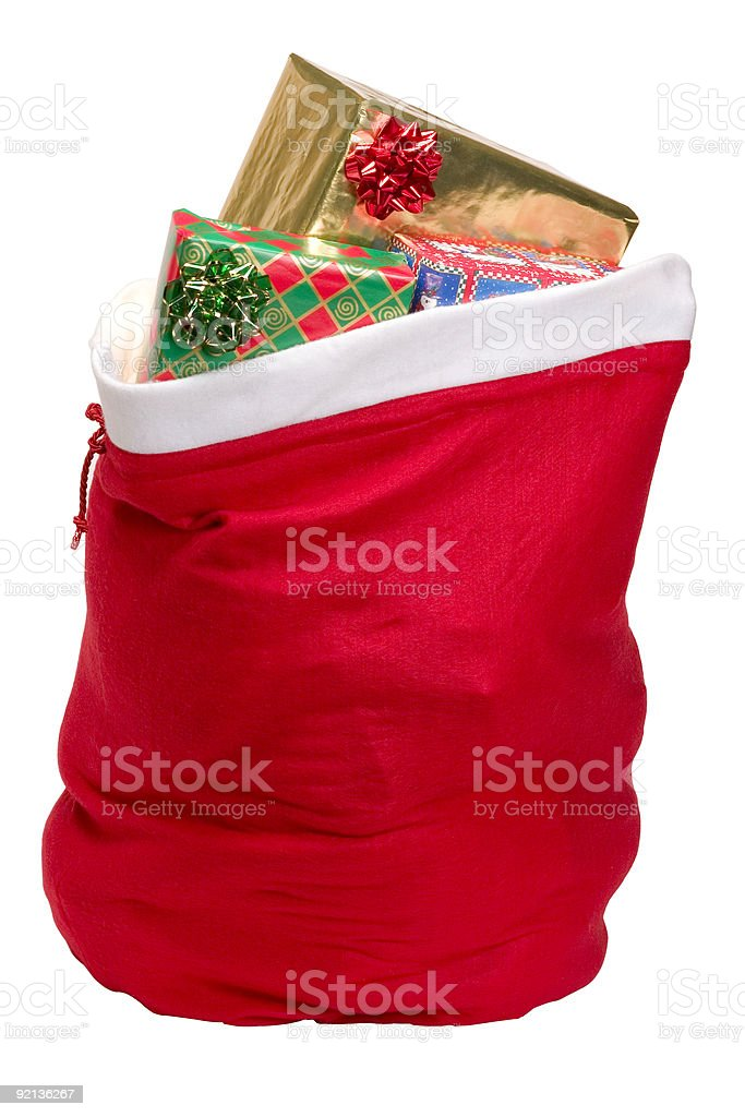 A red sack of brightly colored presents  royalty-free stock photo