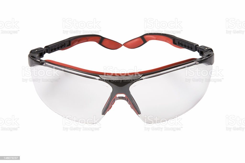 Red safety glasses on a white background royalty-free stock photo