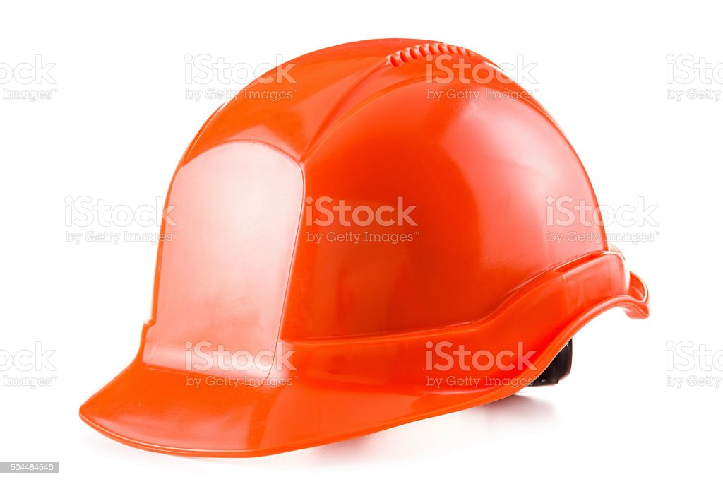 Red safety helmet on white background, hard hat stock photo