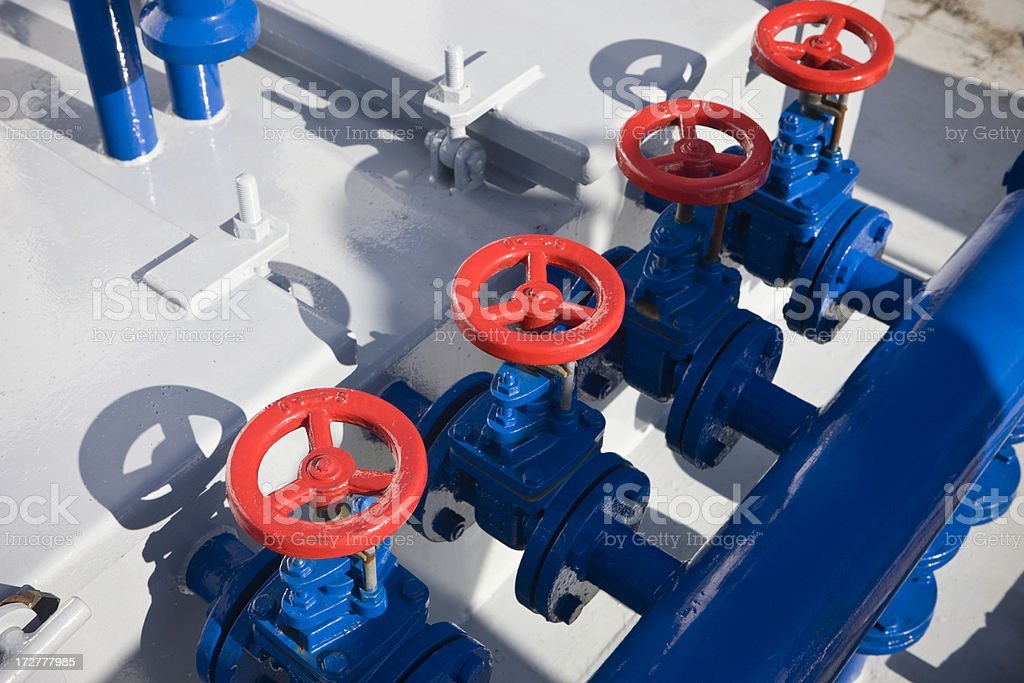 Red Safety Valves stock photo