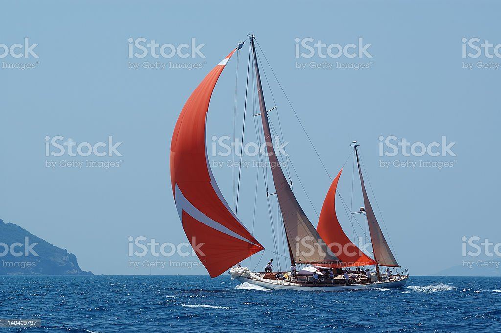 red sail royalty-free stock photo