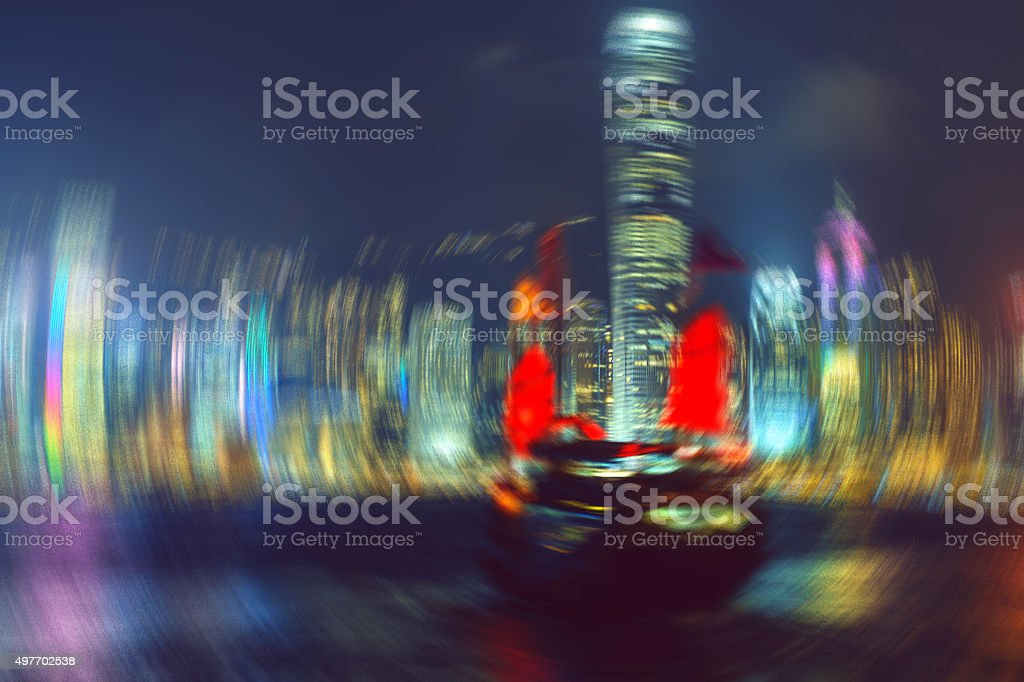 Red Sailing Ship night and Hong Kong Island.Abstraction, China stock photo